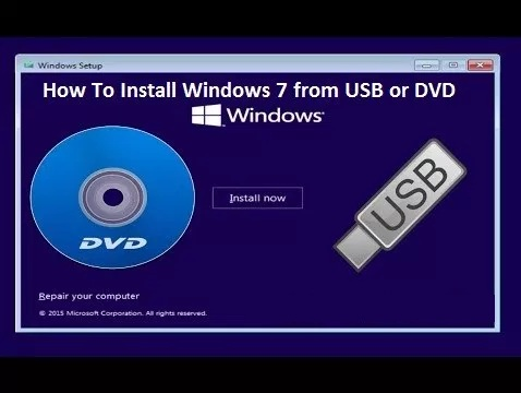 Install Windows 7 from USB or DVD