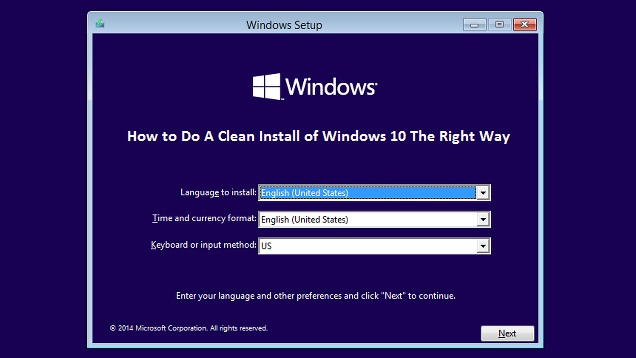 Simple Steps for Clean Installation ofMS Windows 10