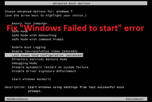 Fix Windows Failed to start Error